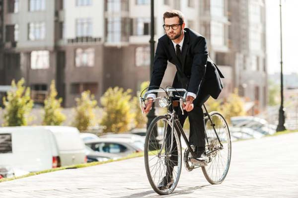 Fit and healthy cyclist commuter